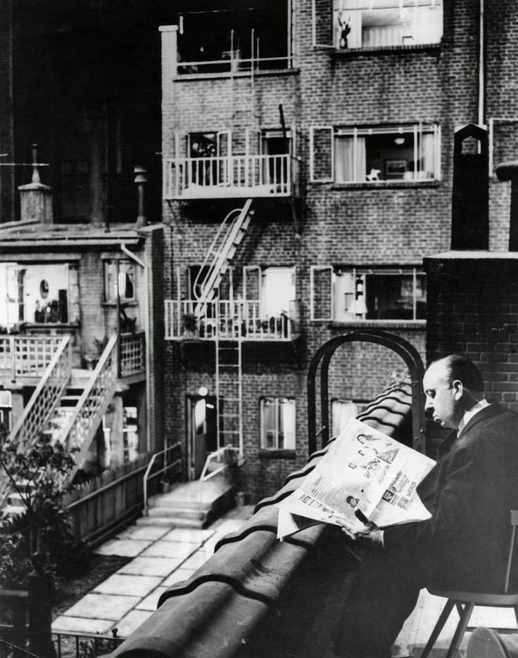 "Alfred Hitchcock on the set of ""Rear Window"""