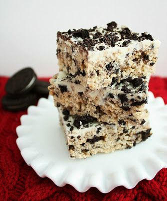 By far the best rice krispie treats ever ! Same original recipe just add oreos and melted white chocolate chips for the topping . http://www.cookingclassy.com/2011/12/cookies-and-cream-rice-krispie-treats/