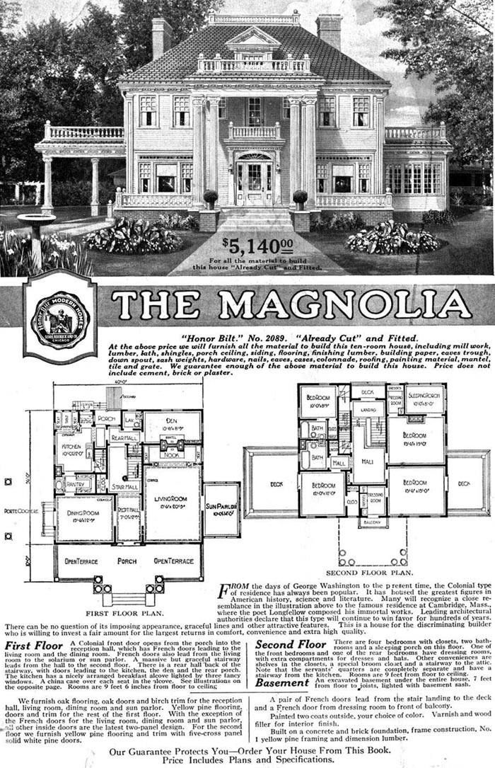 """An original """"Magnolia"""" Sears Modern Homes advertisement (built-to-order) Only seven of this magnificent design (the largest and grandest Sears ever offered between 1918-1922) were built. One was razed, another lost to a fire and the others lovingly kept whole by their owners through-out the years. The """"Magnolia"""" was a ten-room home in the Colonial-style with white siding, hipped roof, large brick chimney's and delicate balustrades and lots of airy spaces."""