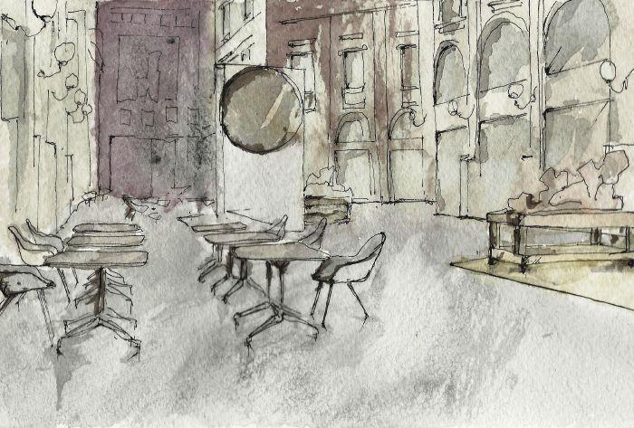 Galleria Vittorio Emanuele II. Allestimento. Schizzo. Acquerelli.