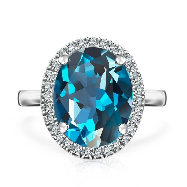 Jubilé - złoty pierścionek z London Blue Topazem i diamentami 2.195,00
