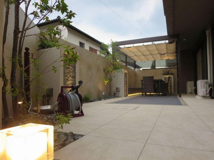 ガーデン施工事例 / ガーデンリフォーム、大阪府枚方市、タイル 石材、アウトドアリビング、メンテナンスフリー