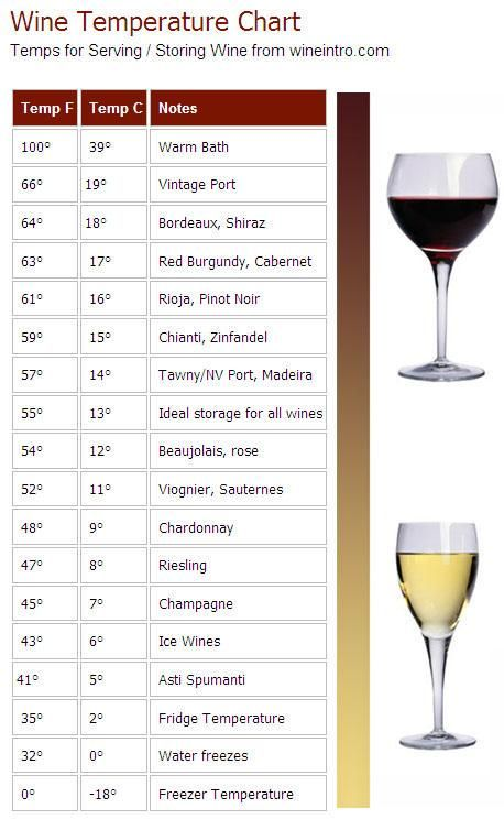 wine storage best temperature  Great guide for keeping your wine at the  proper temperature.