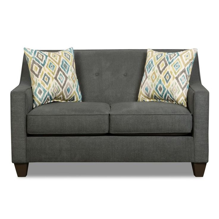 Styleline Addison Charcoal Twill Button Loveseat Weekends Only Furniture  And Mattress