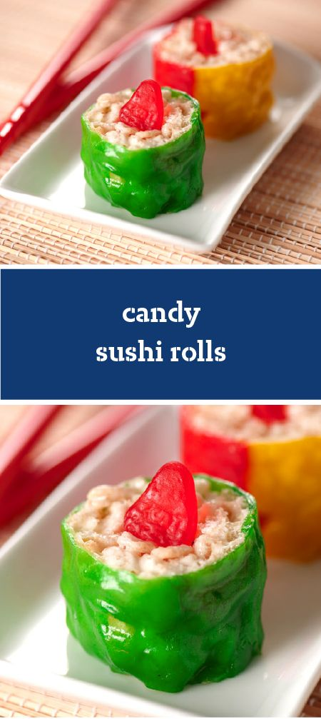 Candy Sushi Rolls – Enjoy the sweet taste of this adorable recipe for Candy Sushi Rolls as a fun and creative treat with your kids. These bites are super easy to make since it's just RICE KRISPIES TREATS® combined with fruit snacks!