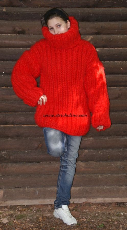 Mohair Pullover rot, mohair sweater red