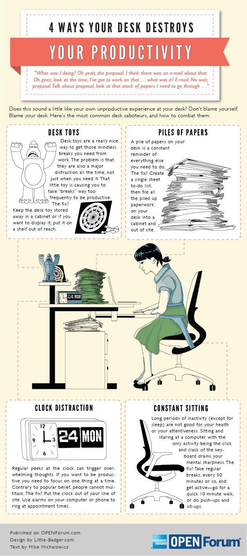 4 Ways Your Desk Destroys Productivity Infographic