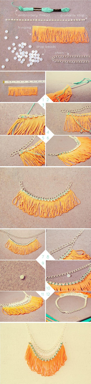 DIY Neon Fringe Necklace