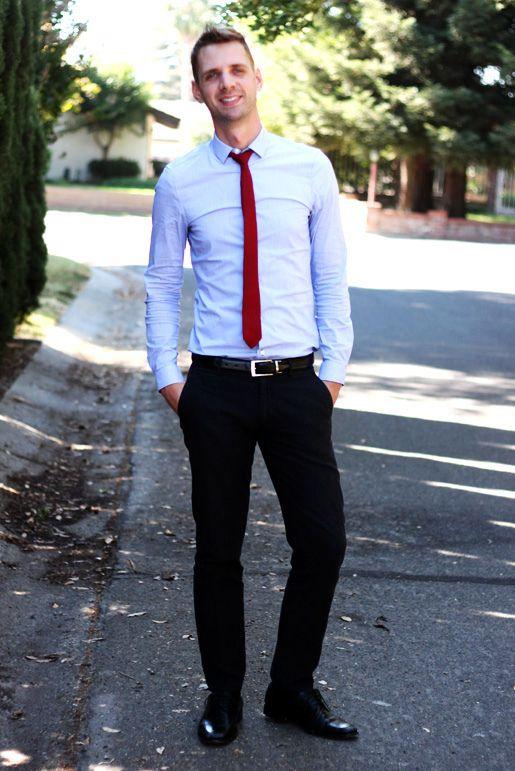 Baby blue button down. Red tie. Black slacks