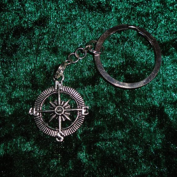 Keyring - Compass - Free UK P&P -  Alternative /  Nature / Pagan / Wiccan / Spiritual /  Fantasy / Cosplay / Orientiering / Maps / Explorer