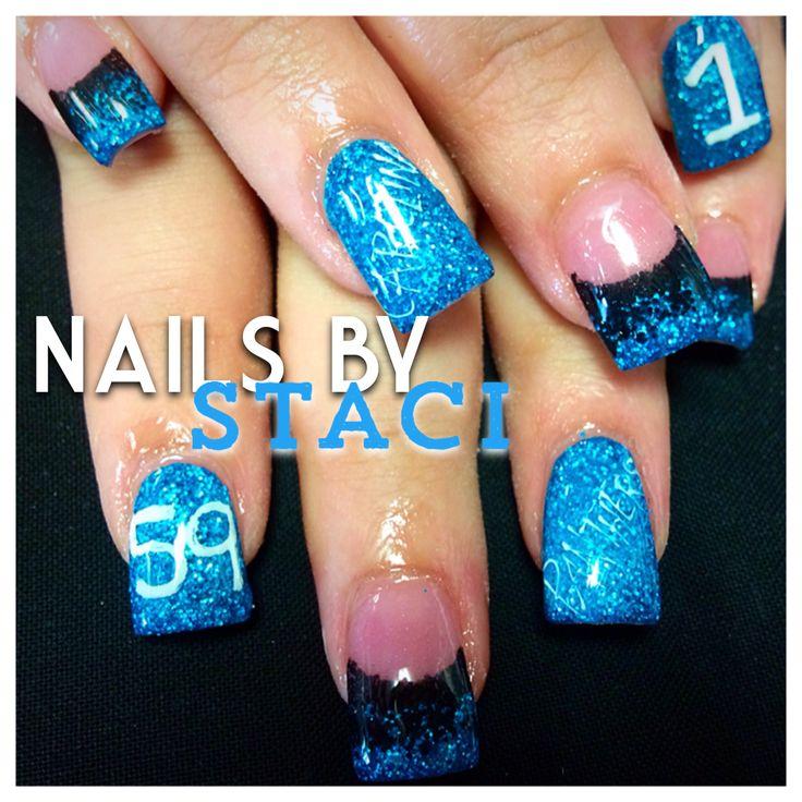 Carolina panthers nails - 47 Best Carolina Panthers Makeup Hair & Nails Images On Pinterest