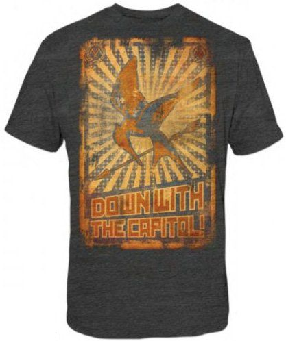 The Hunger Games - Down W/Capitol Poster Adult T-Shirt In Heather Charcoal $14.75 - $15.25: Adult T Shirts, Picture-Black Posters, Birthday Boys, Hunger Games, Wcapitol Posters, W Capitol Posters, Heather Charcoal, The Hunger Game, Posters Adult