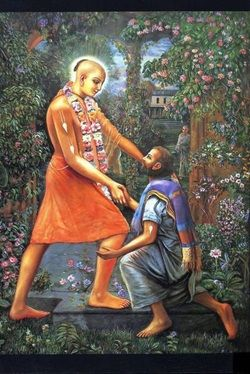 """Catching his hand, Sri Caitanya Mahaprabhu took Sanatana Goswami inside and made him sit in an elevated place next to Him."" CC Madya 20"