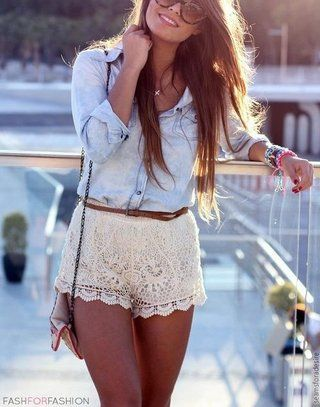 cute outfit with lace shorts and denim top