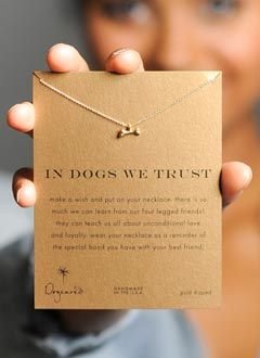 Dog Bone Necklace, a donation is made for every purchase of this necklace to a charity that helps people get service dogs.