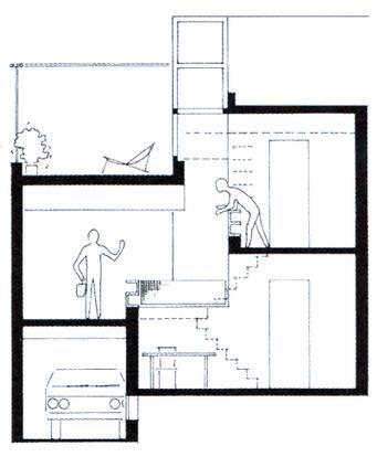 Doorsnede diagoonwoning herman hertzberger delft 1970 for Residential architectural drawings