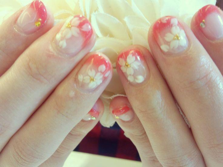 桜のお花ジェルネイル 春最新ジェルネイル 3D桜ジェルネイル 桜3Dジェルネイル