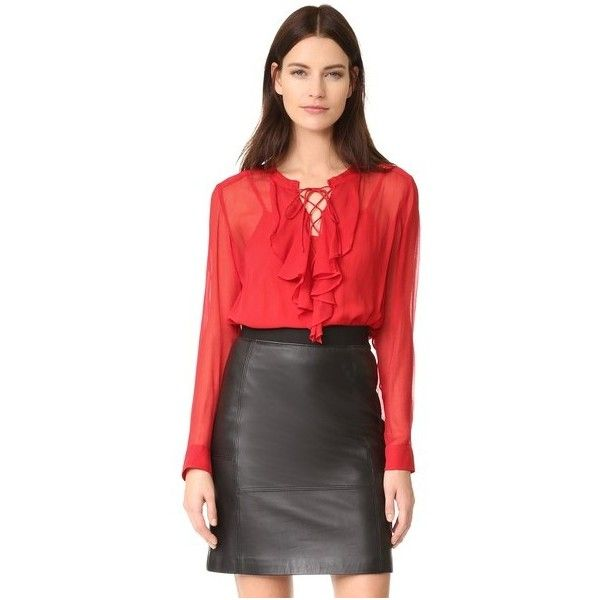 The Kooples Ruffle Front Blouse ($300) ❤ liked on Polyvore featuring tops, blouses, red, long sleeve tops, red cami, collar top, red cami top and ruffle front top