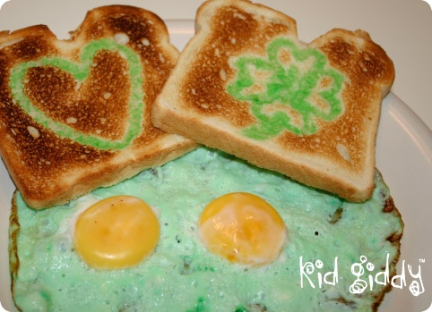 Make this special Eggs with Toast breakfast on any occasion or holiday, just change the color  you use!