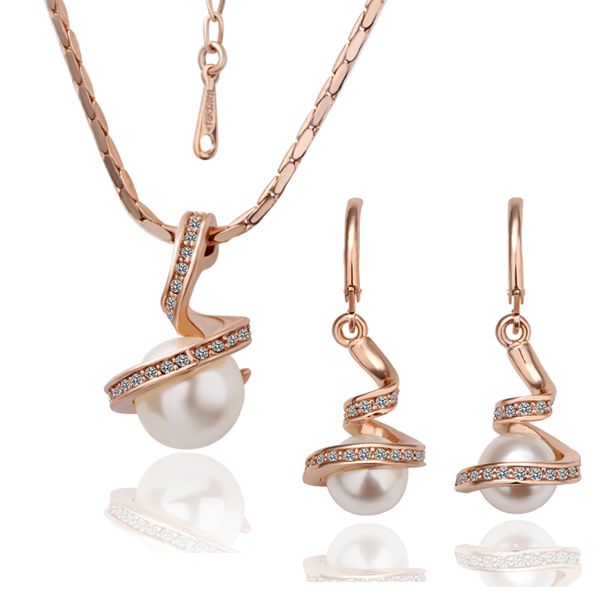 Free Shipping 18 K Gold Plate Mother Shell Pearl Necklace Set,Fashion Wholesale Jewelry-in Jewelry Sets from Jewelry on Aliexpress.com