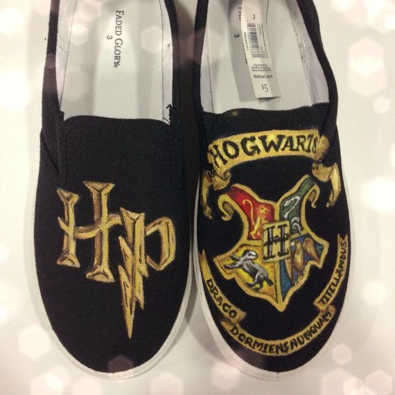 YES!!!! Harry Potter Hogwarts Crest Hand Painted Shoes! For sale on etsy! #harrypotter #Handpaintedshoes #shoes