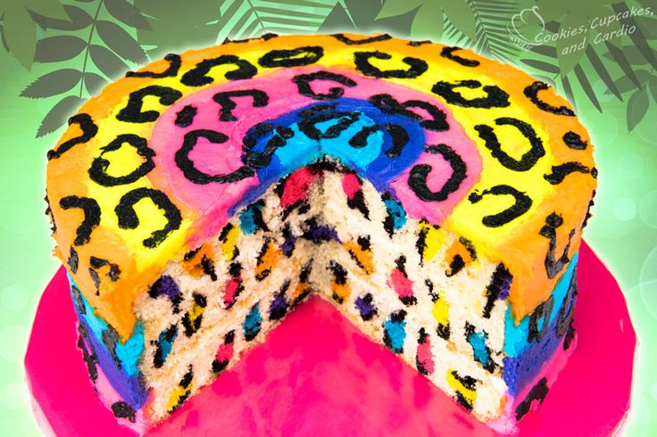 Rainbow Leopard Cake - Surprise Inside Video ~ Cookies, Cupcakes, and Cardio