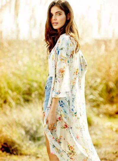 #AdoreWe #Oasap.com - #Roawe Women's 3/4 Sleeve Floral Print Chiffon Kimono - AdoreWe.com