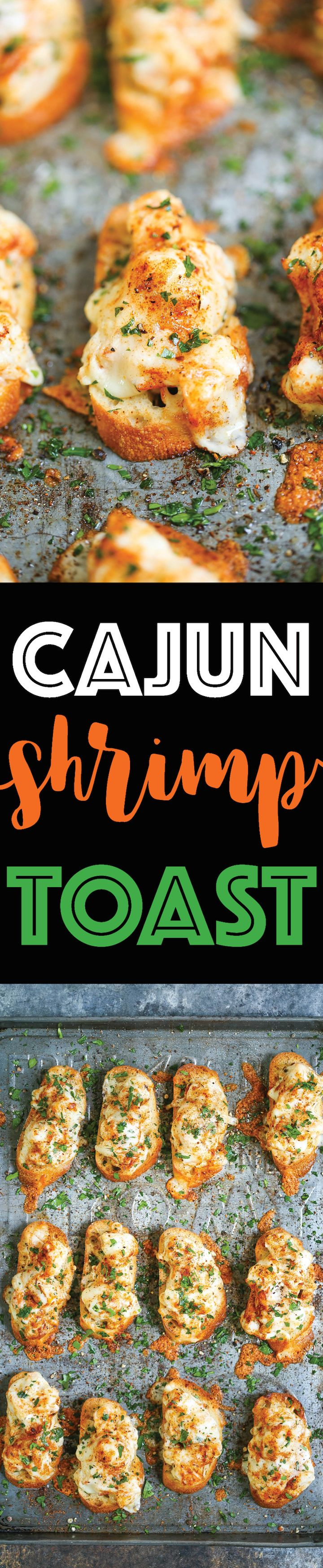 Cajun Shrimp Toast - Bite-sized SHRIMP TOAST! With the creamiest, cheesiest shrimp topping with Parmesan and mozzarella! You won't be able to stop at 1!