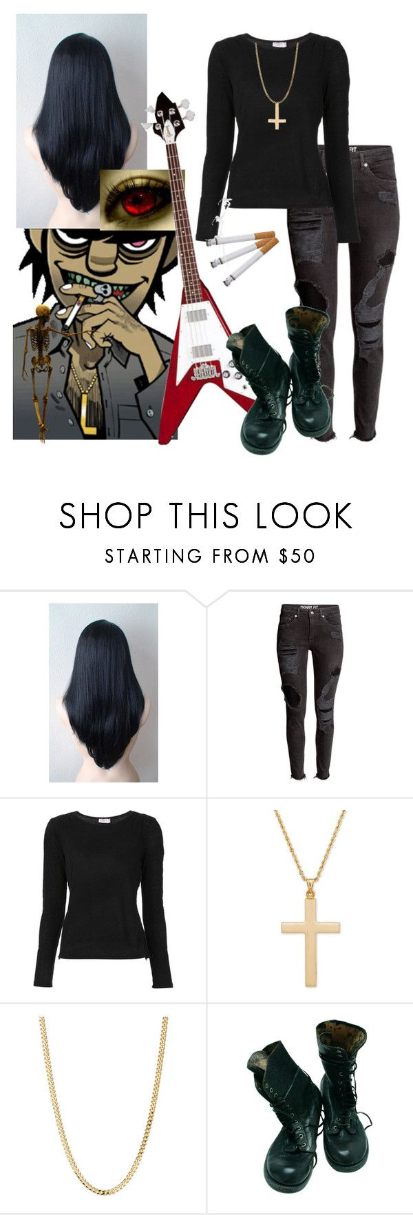 """""""female murdoc : gorillaz"""" by scarlet-snow2603 ❤ liked on Polyvore featuring H&M, Frame and Bianca Pratt"""