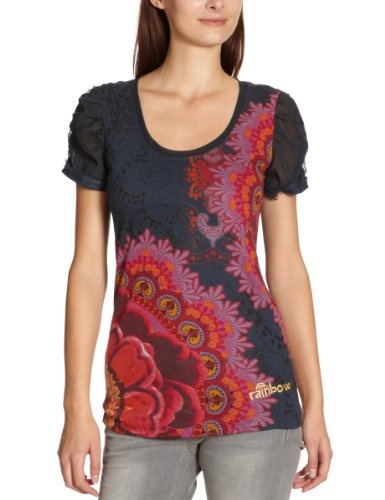 Desigual Damen T-Shirt, 27T2415, Gr. 38 (M), Blau (Marino 5001)