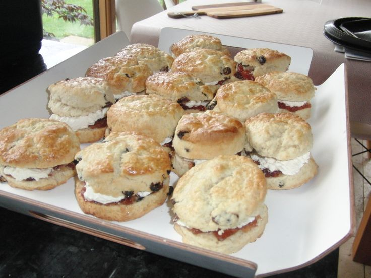 Fresh cream scones and strawberries