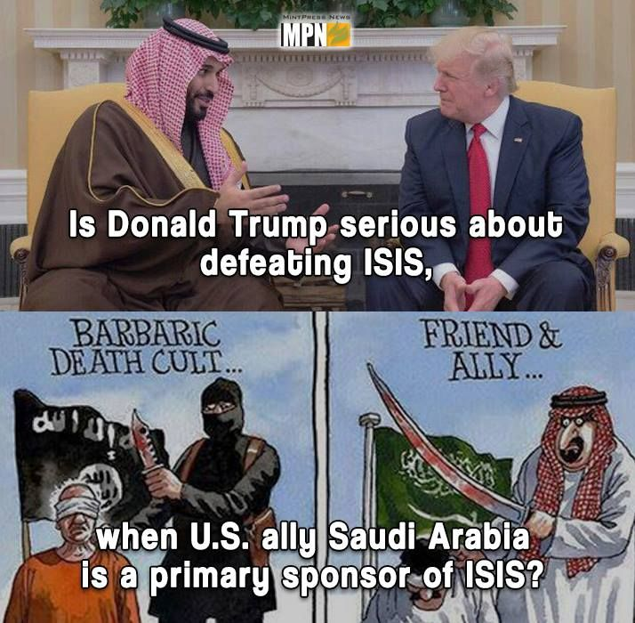 Donald Trump met with Saudi Arabia's Deputy Crown Prince Mohammed bin Salman today.  Do you really think Trump wants to defeat ISIS when he meets with one of ISIS' primary sponsors? #Trump #DonaldTrump #USA #Politic #Europe #germany #France #UK #Russia #BernieSanders
