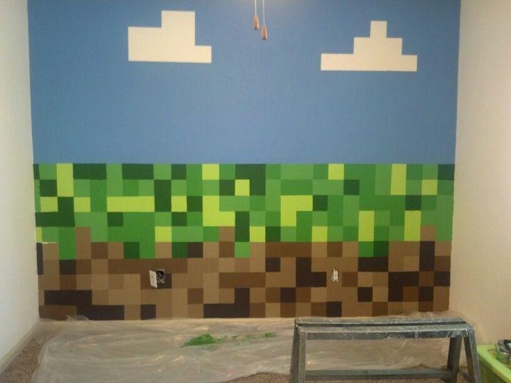 Boys minecraft bedroom wall