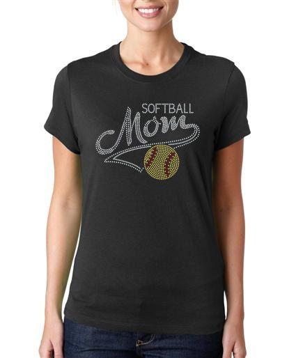 Softball MOM with Tail Women's Rhinestone by SportsBlingandMore, $21.00