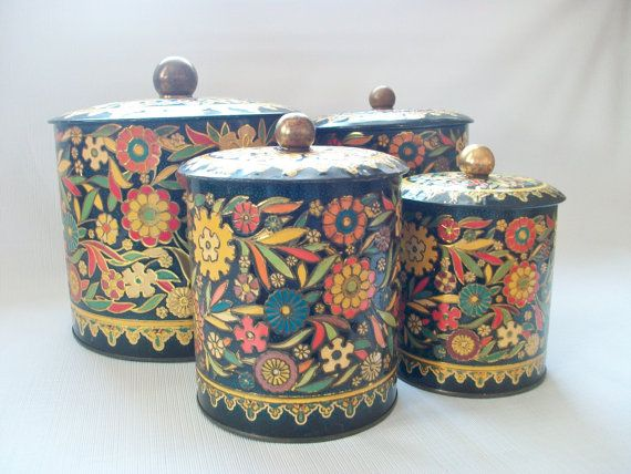 Black Floral Tin Cans Vintage Daher Round Metal Decorative Kitchen Storage Canisters W Multi