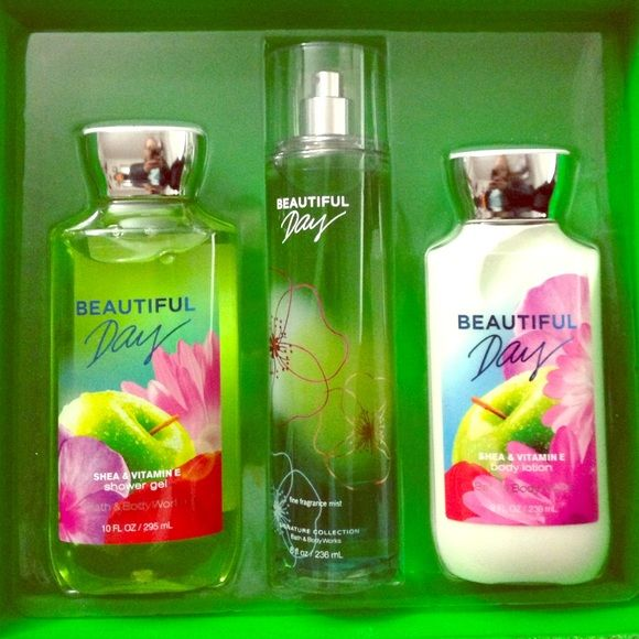 """Bath and body works lotion, shower gel, perfume Brand new Christmas gift set that I never got to gift! The scent is """"Beautiful Day"""" by Bath and Body Works. I already have this set or I'd keep it for myself! Worth $39 but selling for $29 OBO! Bath and Body Works Other"""