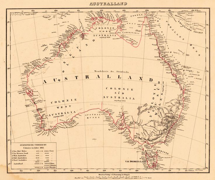 Antique map of Australia by C. Flemming, 1844