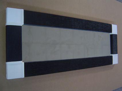 espejo blanco y negro espejo moderno con marco de polipiel