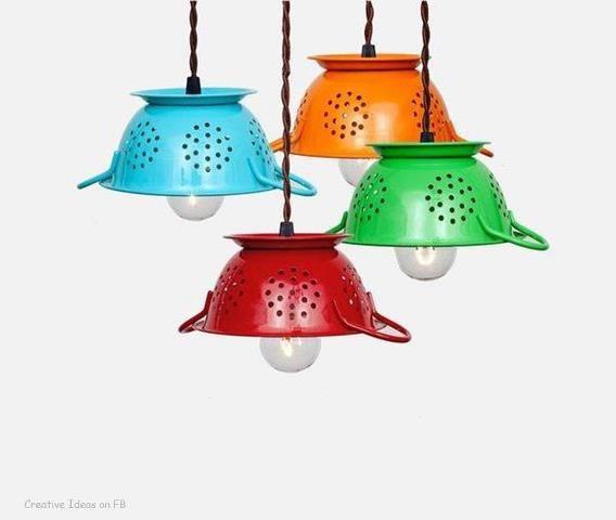 Scolapasta come lampadario | Riciclo Creativo