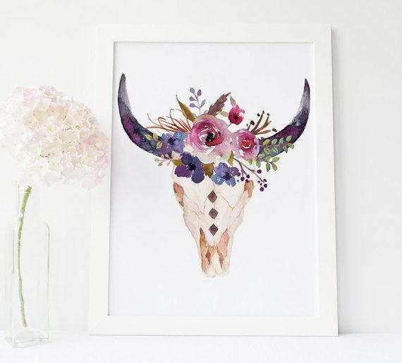 Cow skull floral skull bull head print boho by PrintableLifeStyle