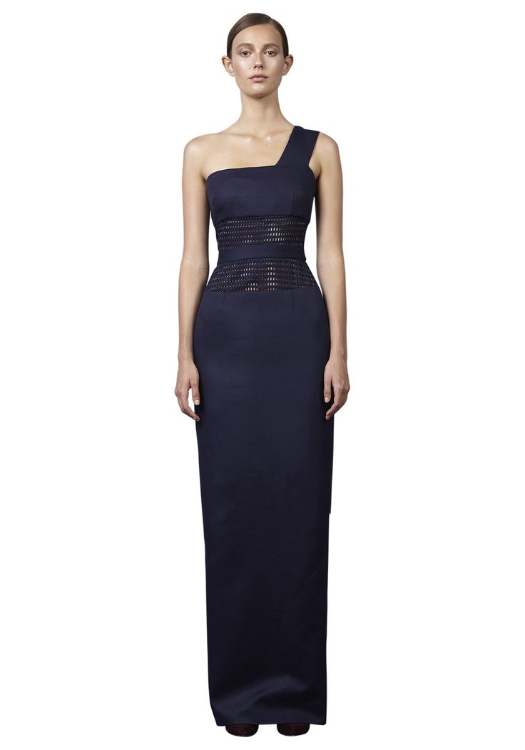 BY JOHNNY  - Mesh Panel Sharpened Gown - Navy