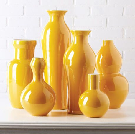 Beautiful Set of 6 Yellow Porcelain Flower Vases * Click Image For Full Screen View