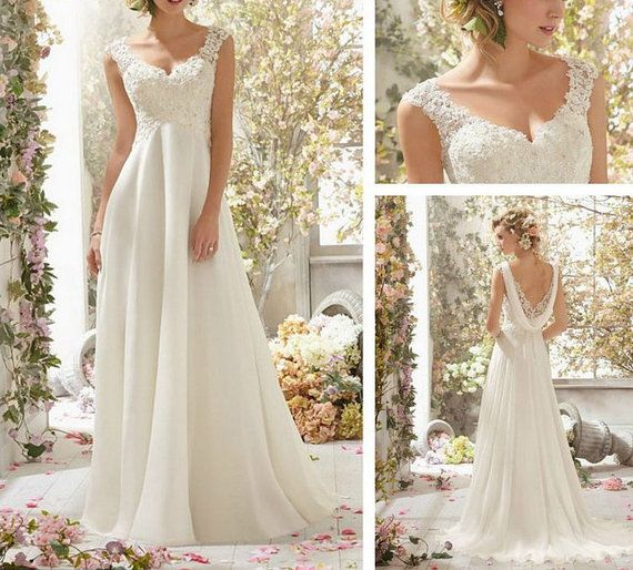 Custom 2014 white/ivory Bridesmaid Bride Cap Sleeve Gown Lace Applique&Chiffon wedding dress/gown V-neck Wedding dresses