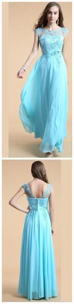 Long Custom Blue A-line Pretty Evening Party Affordable Prom Dresses Online,PD0126