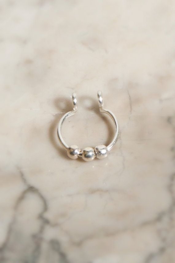 3 Ball Septum Nose Cuff © Silver fake nose ring by CurlyCuffs  $5
