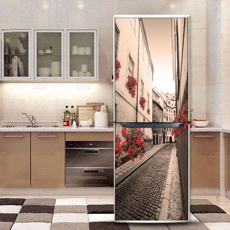 yazi Fridge Refurbished Sticker PVC Self Adhesive Refrigerator Cover Wall Sticker Wallpaper Kitchen Decor 60x150cm 60x180cm