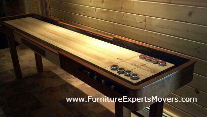 hathaway shuffleboard installation completed in sterling Virginia. Call 240-764-6143 by Furniture Experts Movers