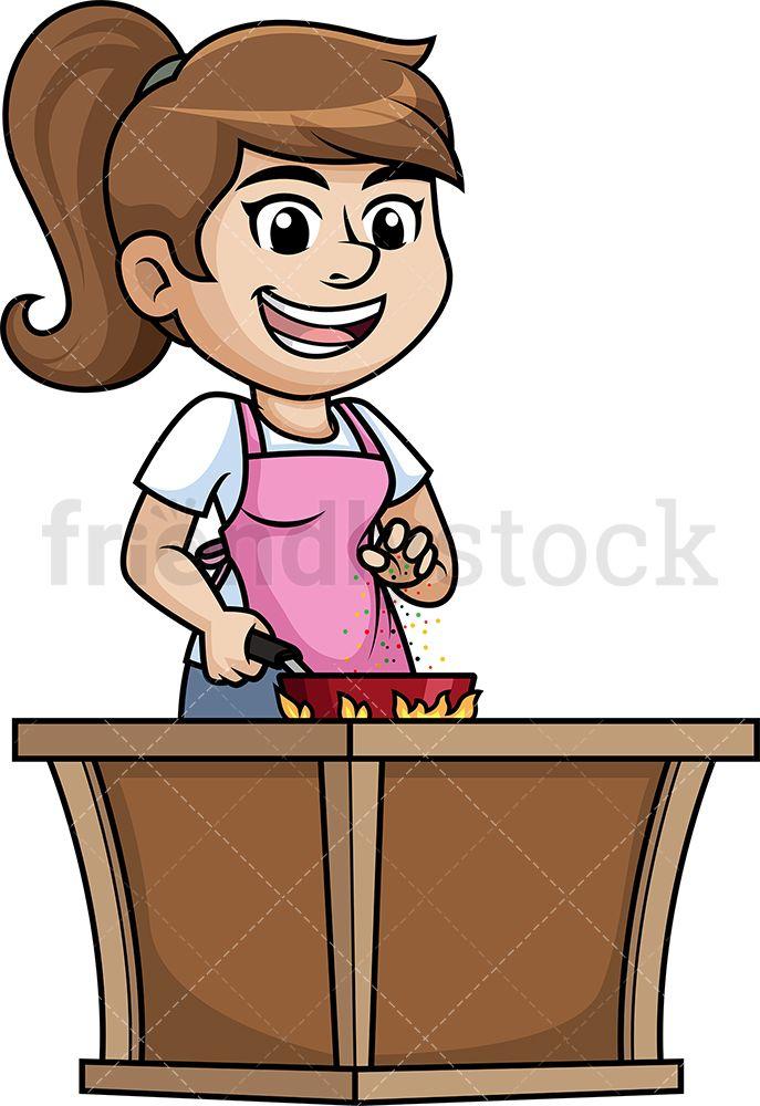 Woman Salting Food Cartoon Clipart Vector Friendlystock Cartoon Clip Art Cartoon Food Cartoon