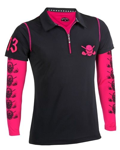 The Lucky 13 women's hybrid polo shirt and the hot pink performance undershirt make for one cool golf outfit.