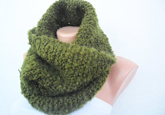 Free Shipping  Hand Knitted Cowl  Neck Warmer  Oil by noyumberry, $32.00